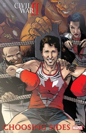 Marvel cover with Canadian PM