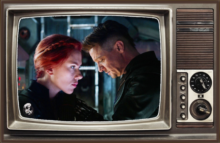 Scarlett Johansson as Black Widow and Jeremy Renner as Hawkeye in 'Avengers: Endgame'.